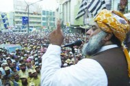 JUI chief Maulana Fazlur Rehman addressing a rally in Pakistan