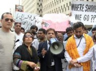 Hindu Protestors in Karachi (Credit: tribune.com.pk)