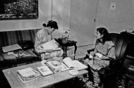 Benazir Bhutto with Nafisa Hoodbhoy in 70 Clifton, Karachi on June 1986 (Photographer: Zahid Hussein)