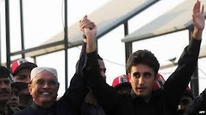 President Zardari with son Bilawal (Credit: bbc.co.uk)