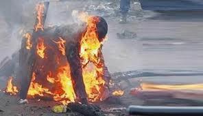 Blasphemy accused burnt in Sita village, Sindh (Credit: Samaa tv)