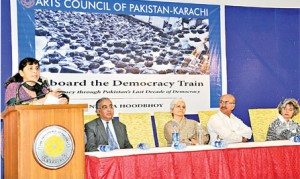 The author speaks at ATDT book launch in Karachi (Credit: thenews.com.pk)