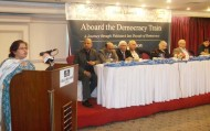 Writer Aisha Siddiqa speaks at ATDT event (Credit: SPO Pakistan)