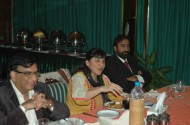 PPP Senator Dr Karim Khawaja (left) listens to ATDT author