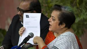 Shireen Mazari at press conference (Credit: watchinga.com)