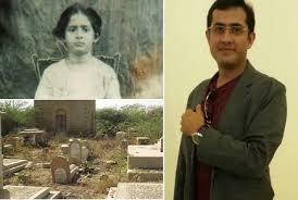 Faisal & mother, Mewa Shah graveyard below (Credit: timesofisrael.com)