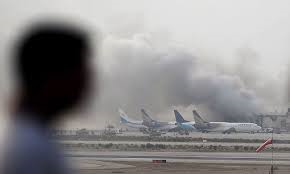 Karachi airport burns (Credit: dawn.com)