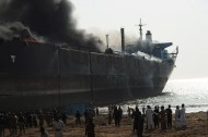 Ship at Gadani catches fire